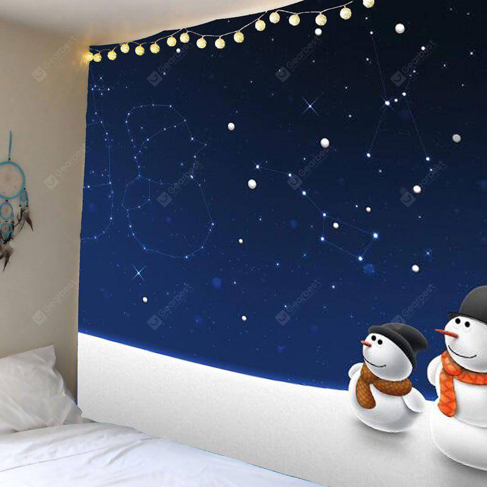 Christmas Starry Sky Snowman Pattern Wall Hanging Tapestry