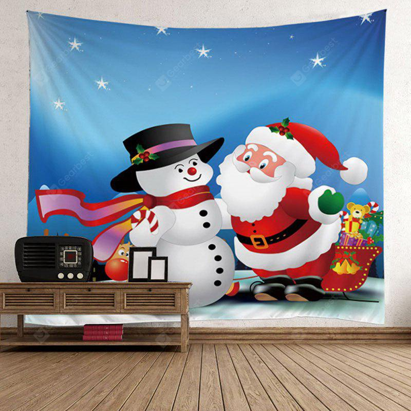 Santa Claus and Snowman Pattern Christmas Waterproof Wall Hanging Tapestry