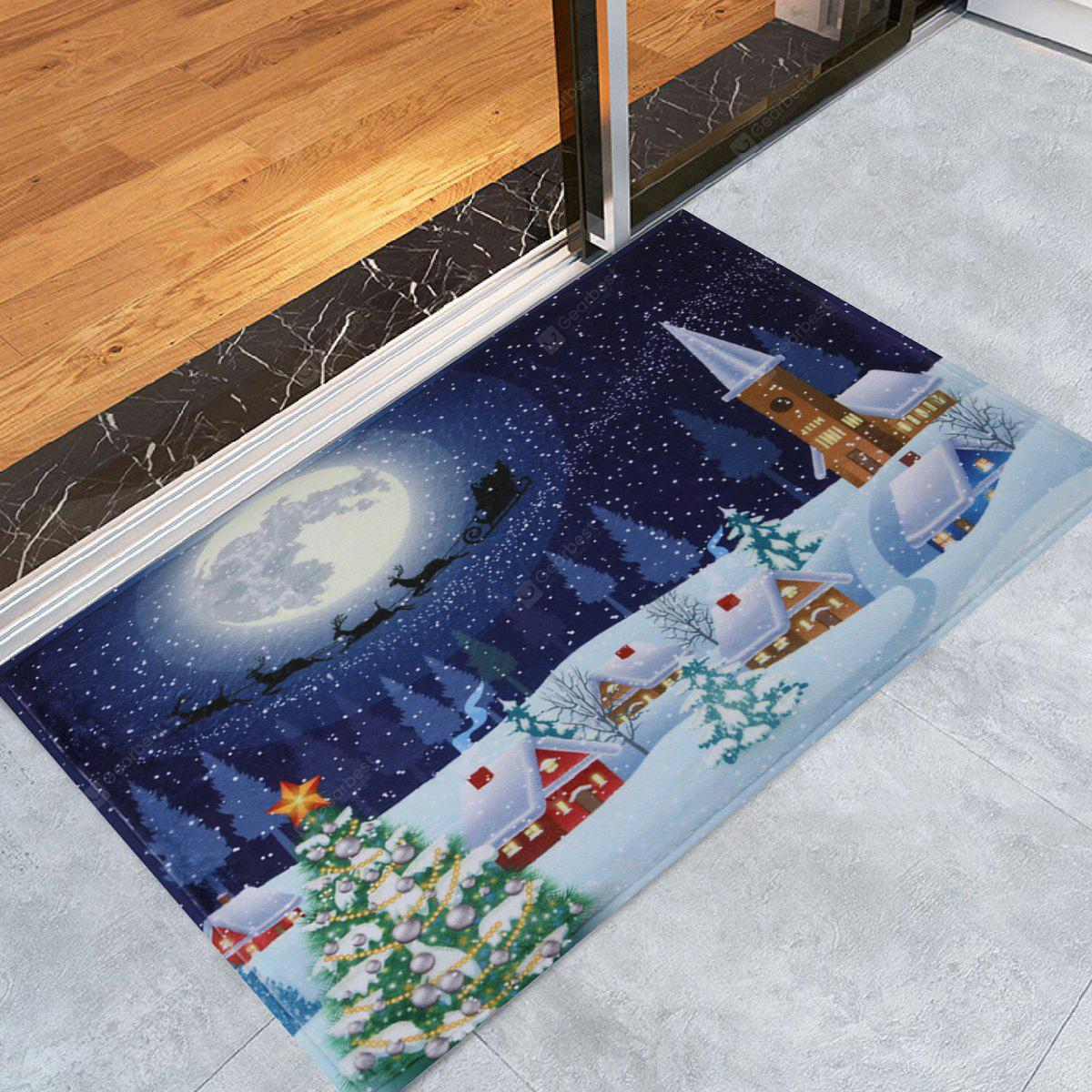 Bathroom Antislip Christmas Tree Snow Moon Rug
