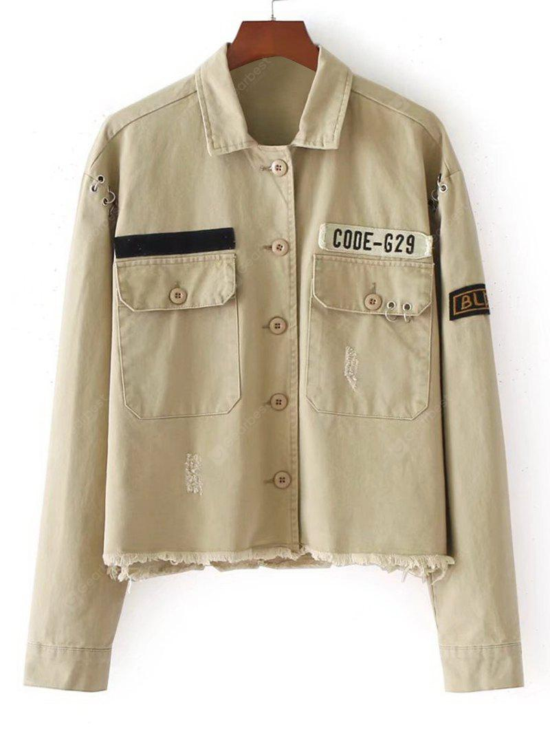 Patched Ripped Button Up Jacket