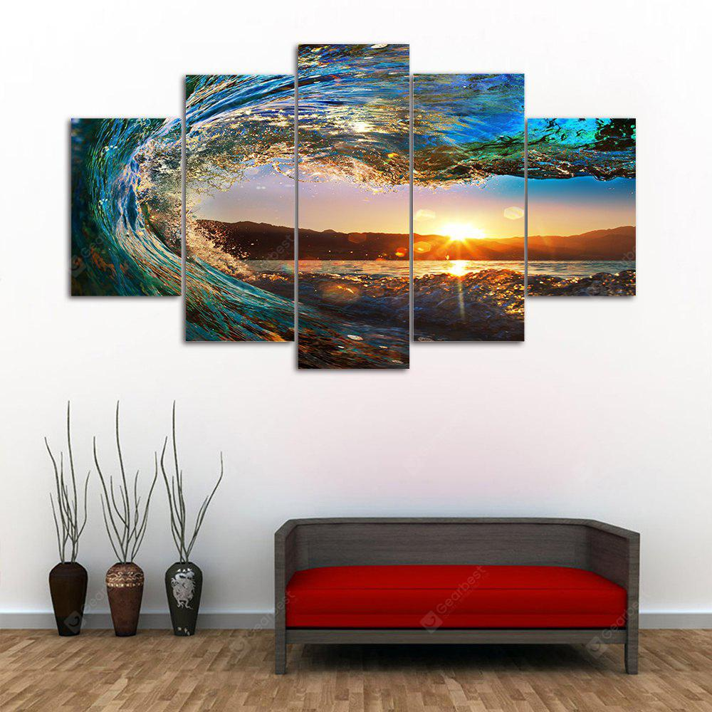 Sunset Wave Print Unframed Canvas Split Painting