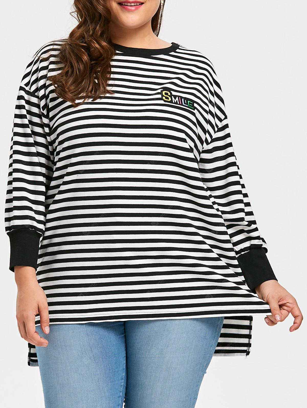 Plus Size Striped Long Sleeve High Low Tee