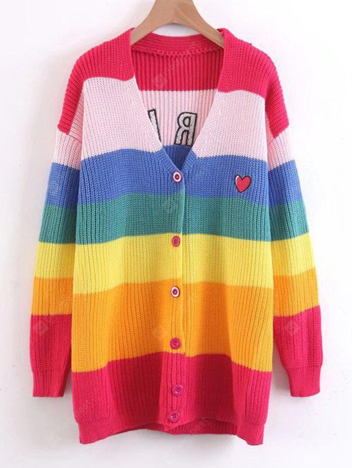 Coração bordado Stripes Button Up Sweater