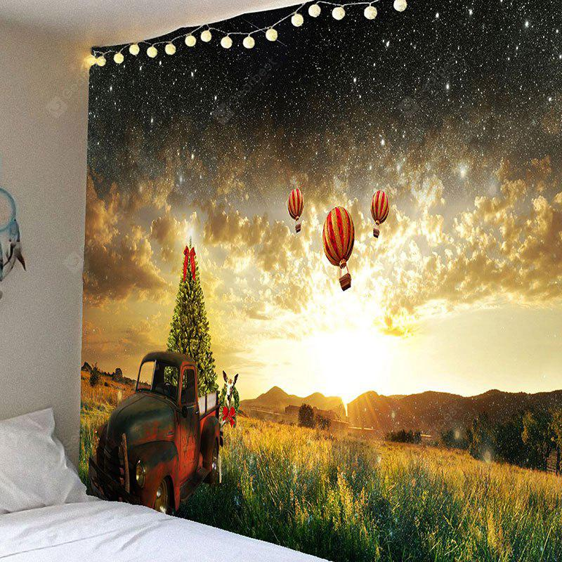 Galaxy and Hot Air Balloon Pattern Waterproof Wall Hanging Tapestry