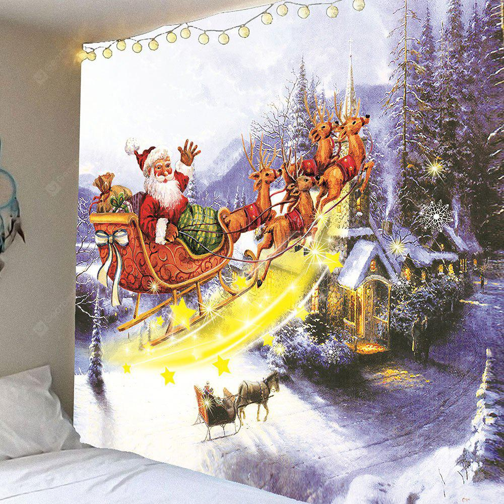 Christmas Carriage and Castle Printed Waterproof Wall Hanging Tapestry