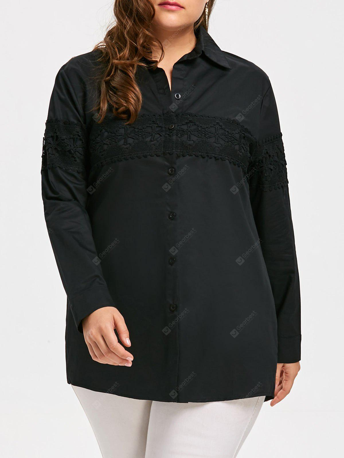 Plus Size Lace Embroidered Button Up Long Shirt