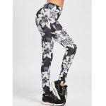 Low Waisted Skinny Floral Leggings - WHITE AND BLACK
