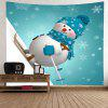 Wall Hanging Art Christmas Snowman Skiing Print Tapestry - BLUE