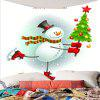 Christmas Snowman Skating Pattern Waterproof Wall Hanging Tapestry - COLORFUL