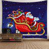 Christmas Carriage Santa Claus Pattern Waterproof Wall Hanging Tapestry - COLORFUL