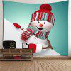 Waterproof Cute Christmas Snowman Pattern Wall Hanging Tapestry - COLORFUL