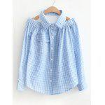 Cold Shoulder Checked Pocket Shirt - LIGHT BLUE
