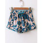 Tropical High Waisted Drawstring Shorts - MULTICOLOR