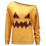 One Shoulder Halloween Sweatshirt - YELLOW