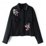Floral Embroidered Beaded Denim Jacket - BLACK