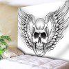 Wall Hanging Skull Wings Print Tapestry - WHITE