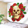 Flower Skull Print Wall Hanging Tapestry - WHITE