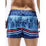 Drawstring Leaves Stripe Print Straight Leg Board Shorts - BLEU