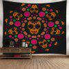 Wall Art Skull Flower Print Wall Tapestry - BLACK