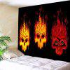 Fire Skulls Print Wall Hanging Tapestry - BLACK