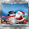 Santa Claus and Snowman Pattern Christmas Waterproof Wall Hanging Tapestry - COLORFUL