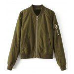 Zippered Sleeve Zip Up Bomber Jacket - ARMY GREEN