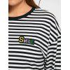 Plus Size Striped Long Sleeve High Low Tee - BLACK