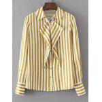 Flounces Stripes Shoulder Pads Shirt - STRIPE