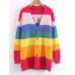 Coração bordado Stripes Button Up Sweater - MULTICOR