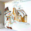 Christmas Snowman and House Pattern Waterproof Wall Hanging Tapestry - COLORFUL