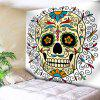 Wall Art Skull Floral Print Bedroom Tapestry - WHITE