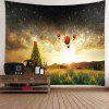 Galaxy and Hot Air Balloon Pattern Waterproof Wall Hanging Tapestry - COLORFUL