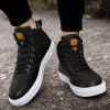 Buy Solid Color Leather Panel High Top Casual Shoes Men BLACK