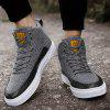 Buy Solid Color Leather Panel High Top Casual Shoes Men GRAY