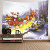 Christmas Carriage and Castle Printed Waterproof Wall Hanging Tapestry - COLORFUL