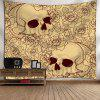 Skull Floral Print Bedroom Wall Tapestry - YELLOW