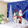 Father Christmas and Snow Printed Waterproof Wall Hanging Tapestry - COLORMIX