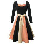 Long Sleeve Color Block Flare Vintage Dress - BLACK