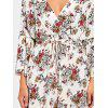 Flare Sleeve Floral Surplice Dress - COLORMIX