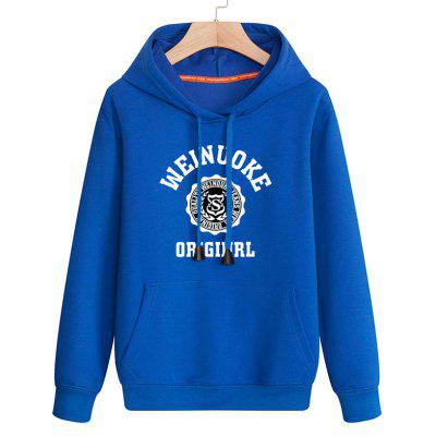 Buy BLUE Kangaroo Pocket Graphic Print Drawstring Hoodie for $27.39 in GearBest store