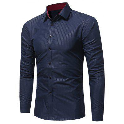 Buy CADETBLUE Turndown Collar Vertical Stripe Embossing Shirt for $17.94 in GearBest store