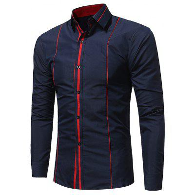 Buy CADETBLUE Turndown Collar Color Block Selvedge Shirt for $18.49 in GearBest store