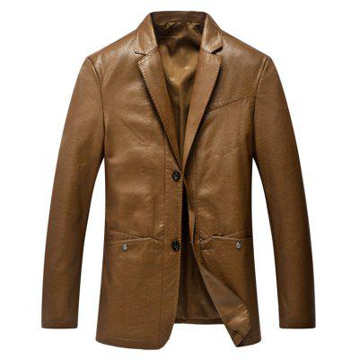 Single Breasted Lapel Collar Faux Leather Blazer