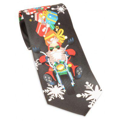 Santa Claus Ride a Motorbike with Gifts Printed Tie