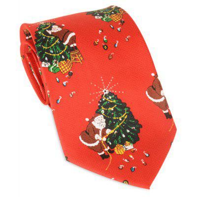 Santa Claus Christmas Tree Allover Tie