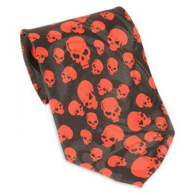 Halloween Skull Decorated Pattern Faux Silk Necktie