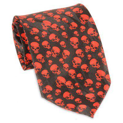 Halloween Full Small Skull Printed Faux Silk Necktie
