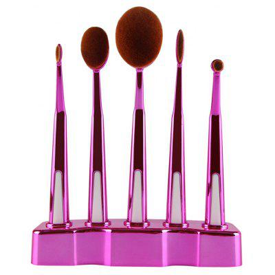5 Piece Oval Make-up Brush Set with Brush Holder