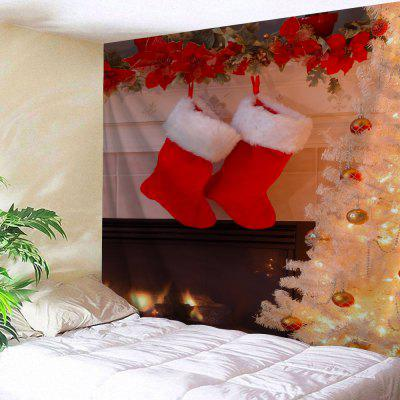 Christmas Fireplace Socks Print Wall Tapestry