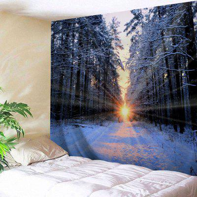 Wall Hanging Art Sunlight Snowy Forest Print Tapestry